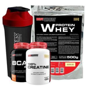 Kit Whey Protein 500g Bau + Bcaa 4,5 100g + Creatine 100g + Coqueteleira Bodybuilders