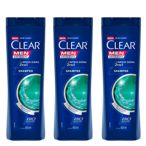 Kit Shampoo Anticaspa Clear Men Limpeza Diária 2 em 1 400ml com 3 - Incolor