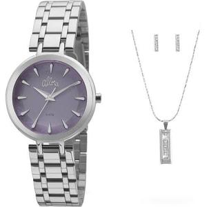 Relógio + Colar + Par d e Brincos Feminino Allora Analógico Fashion Al2036flm/k3a