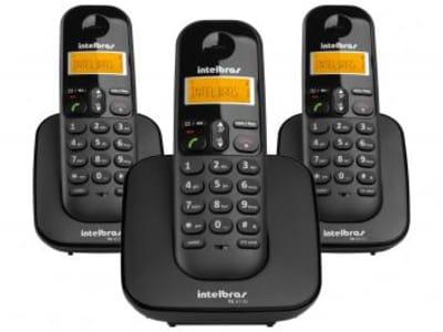Telefone Sem Fio Intelbras TS 3113 + 2 Ramais - Identificador de Chamada Conferência Preto - Magazine Ofertaesperta