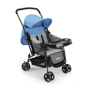 Oferta ➤ Carrinho de Bebê Berço com Bandeja Nap Weego Azul – 4012   . Veja essa promoção