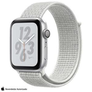 Apple Watch S4 N+ Prateado GPS em Alumínio e Pulseira Esporte em Nylon Branca, 44 mm, Wi-Fi, Bluetooth e 16GB