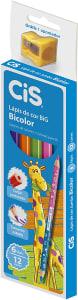 Lápis de Cor Jumbo Bi-Color, CiS, BIG, 52.2200, Sextavado, 6 Lápis / 12 Cores