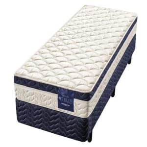 Cama Box Solteiro + Colchão Minaspuma Neo Blue com Molas Ensacadas 62x88x188 cm- Bege/Azul