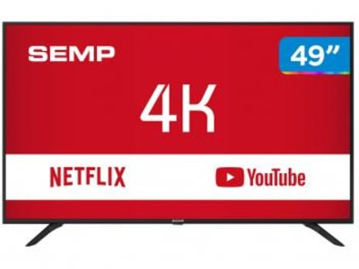 "Smart TV 4K LED 49"" Semp SK6000 Wi-Fi - Conversor Digital 3 HDMI USB - Magazine Ofertaesperta"