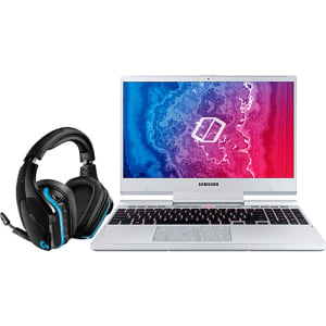 "Notebook Gamer Samsung Odyssey 9ª Intel Core I7 16GB (Geforce GTX1650 4GB) 1TB + 256GB SSD Full HD 15,6"" W10 Prata + Headset Gamer G935 Surround 7.1 R"