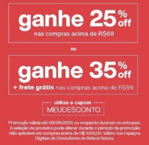 25% de Desconto nas Compras acima de R$69,00 / 35% de Desconto nas Compras acima de R$99,00!
