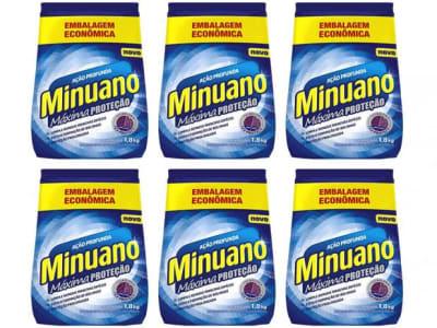 Kit Sabão em Pó Minuano Máxima Proteção - Ação Profunda 1,8kg 6 Unidades