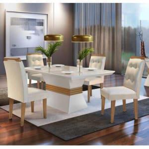 Conjunto Sala de Jantar Mesa 4 Cadeiras Luísa Siena Móveis Veludo Creme/Off White/Imbuia
