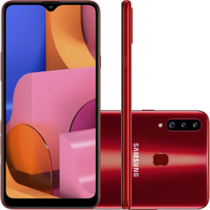 "Smartphone Samsung Galaxy A20s 32GB Dual Chip Android 9.0 Tela 6.5"" Octa-Core 1.8 GHz 4G Câmera Tripla 13.0 MP + 5.0 MP + 5.0 MP(UW) - Vermelho"