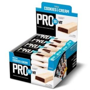 Barra de Proteína Pro30Vit Cookies & Cream - 24 unidades - Trio