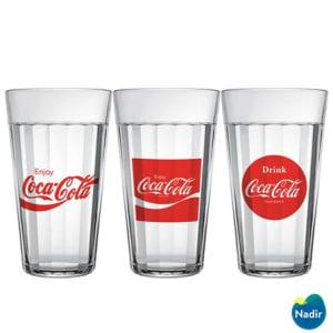 Conjunto de Copos Americano Coca-Cola em Vidro Sodacal 450 ml com 03 Peças - Nadir Figueredo - 3N291002012529_PRD