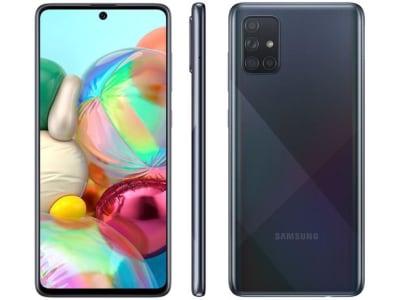 "Smartphone Samsung Galaxy A71 128GB Preto 4G - 6GB RAM Tela 6,7"" Câm. Quádrupla + Selfie 32MP - Magazine Ofertaesperta"