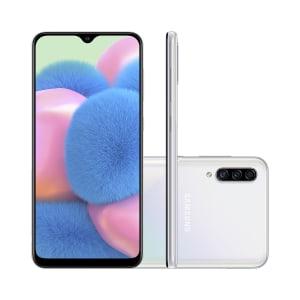 "Smartphone Samsung Galaxy A30s 64GB Branco 4G Tela 6.4"" Câmera Tripla 25MP Selfie 16MP Dual Chip Android 9.0"