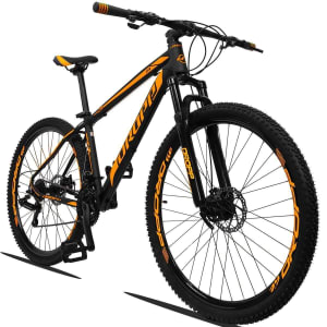 Bicicleta Dropp Z3 Aro 29 Câmbios Shimano 24v Câmbio TZ Freio a Disco Mecânico com Suspensão - Preto+Laranja