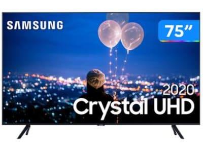 "Smart TV Crystal UHD 4K LED 75"" Samsung - UN75TU8000GXZD Wi-Fi Bluetooth HDR 3 HDMI 2 USB - Magazine Ofertaesperta"