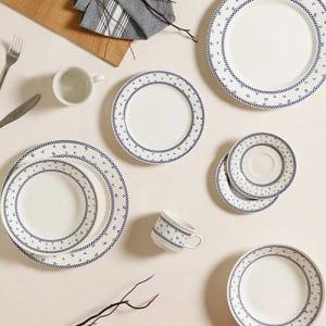 Aparelho de Jantar 20 Peças Cerâmica Domino Azul - La Cuisine
