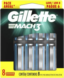 8 Cargas para Aparelho de Barbear Gillette Mach3