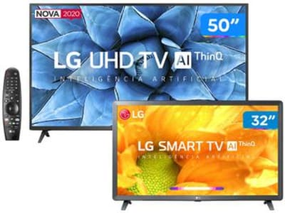 "Combo Smart TV 4K LED 50"" LG 50UN7310PSC Wi-Fi - Bluetooth Inteligência Artificial + HD LED 32"" - Magazine Ofertaesperta"