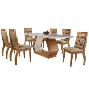 Conjunto de Mesa para Sala de Jantar com 6 Cadeiras Ibis/Agata-Rufato - Animalle chocolate / Off white / Imbuia