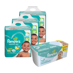 Kit Pampers - Fralda XXG Confort Sec Super 168 UN + Lenço Umedecido Fresh Clean 96 UN