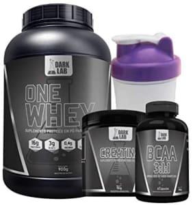 Kit One Whey Protein 900g Baunilha + Creatina 100g + Bcaa 60 Caps + Coqueteleira Roxa - Dark Lab