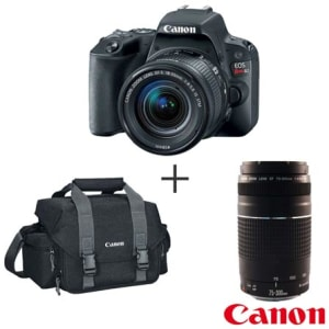 "Camera Digital Canon EOS Rebel SL2 DSLR, 24,2MP, 3""- N5SL2B + Bolsa Gadget Bag - 300DG + Lente Zoom Telefoto EF 75-300mm"