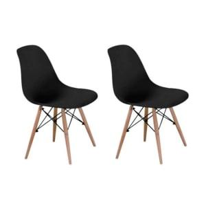 Conjunto com 2 Cadeiras Eames Eiffel Premium Base Madeira Preto
