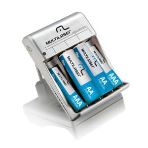 Carregador de Pilhas Multilaser AA e AAA c/ 2 Pilhas AA 2500mAh e 2 Pilhas AAA 900 mAh Bivolt - CB045
