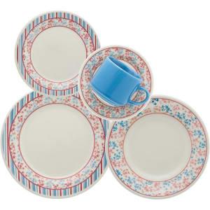 Aparelho de Jantar/Chá 20 Peças Cerâmica Donna Melissa Multicolorido - Biona