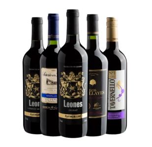 Kit com 5 vinhos de vários países