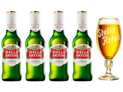 Kit Cerveja Stella Artois Cálice Vintage Premium - 4 Unidades de 275 ml com 1 Cálice