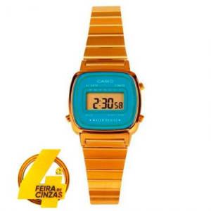 Relógio Feminino Casio, Vintage, Caixa de 2,5 cm, Pulseira de Aço Dourada, Caixa de Resina, Formato 12/24 HS, Calendário - LA670WGA-2DF