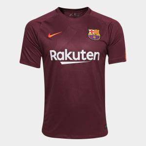 Camisa Barcelona Third 17/18 S/n° Torcedor Nike Masculina - Vinho