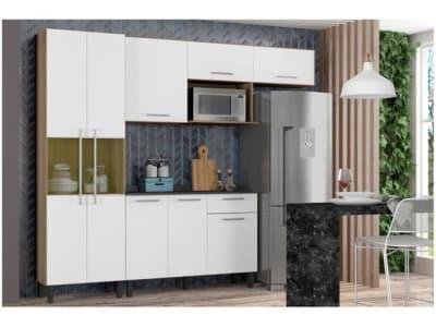 Cozinha Compacta Itatiaia Madeira Lya - Nicho para Micro-ondas 5 Portas - Magazine Ofertaesperta
