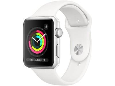 Apple Watch Series 3 (GPS) 42mm Caixa Prateada - Alumínio Pulseira Esportiva Branca - Magazine Ofertaesperta