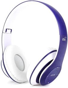 Fone De Ouvido Wireless Bluetooth Dobrável Azul com Branco