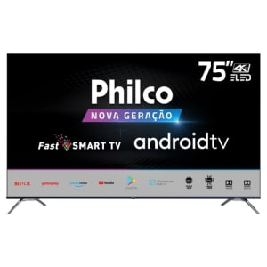 "Smart TV Philco 75"" ELED Ultra HD 4K com Wi -Fi 4 HDMI 2 USB - PTV75K90AGIB"