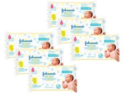 Kit Lenço Umedecido Johnsons Baby Recém-Nascido - Sem Fragrância 6 Pacotes com 48 Unidades Cada - Magazine Ofertaesperta