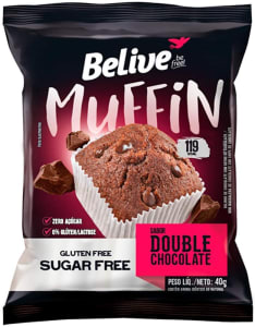 10 Unidades Muffin Double Chocolate Zero Açúcar sem Glúten sem Lactose Belive 40g