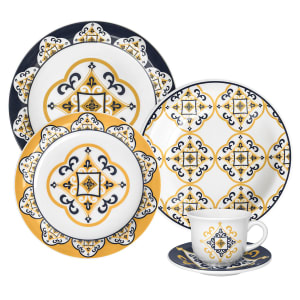 Aparelho de Jantar 20 Peças em Cerâmica Oxford Daily Floreal São Luis JM38-6779 Amarelo e Azul