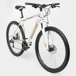 Oferta ➤ Bicicleta GONEW Endorphine 5.3 -Shimano Alumínio Aro 29 – 21 Marchas- Freio A Disco – 2016 – Branco e dourado   . Veja essa promoção