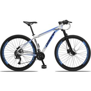 Bicicleta 27 Marchas Aro 29 Freio Hidráulico Câmbio Traseiro Shimano Acera Dropp Aluminum Branco e Azul 21