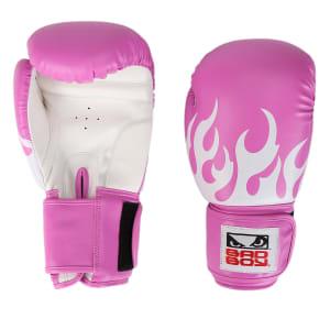 Luva de Boxe/Muay Thai Feminina Treino Bad Boy 12 OZ - Rosa e Branco