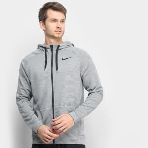 Jaqueta Nike Dry Hoodie Fz Fleece Masculina - Chumbo e Preto