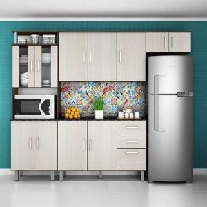 Cozinha Compacta Suíça 8002 - Poliman Amendoa/arenaRedes sociais