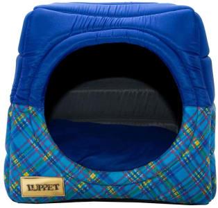 Toca e Cama Luppet 2 em 1 com Almofada para Cães e Gatos de até 5Kg Azul Xadrez M