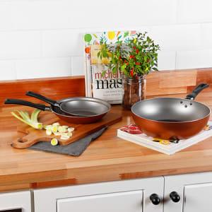Jogo de Frigideira Antiaderente 2 peças + Frigideira Wok Antiaderente Cobre - La Cuisine
