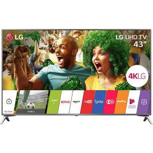 "Smart TV LED 43"" LG 43UJ6525 Ultra HD 4K com Conversor Digital 4 HDMI 2 USB WebOS 3.5 Painel Ips HDR e Magic Mobile Connection"