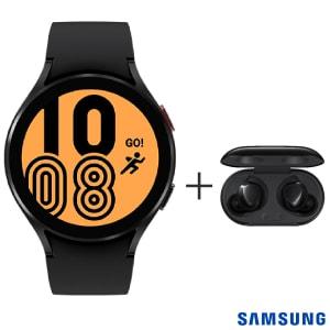 "Samsung Galaxy Watch4 BT 40mm Preto com 1,2"" + Fone sem Fio Samsung Galaxy Buds+ Preto - SM-R175NZKAZTO"